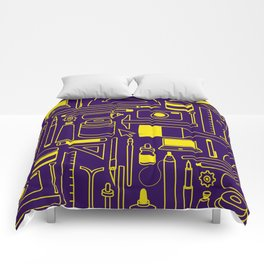 Art Supplies - Eggplant and Yellow Comforters