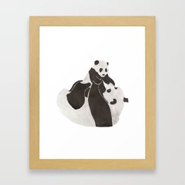 Mother and baby panda playing Framed Art Print