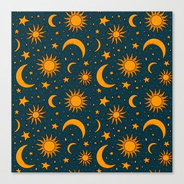 Vintage Sun and Star Print in Navy Canvas Print