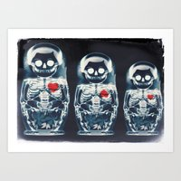 doll Art Prints featuring Nesting Doll X-Ray by Ali GULEC