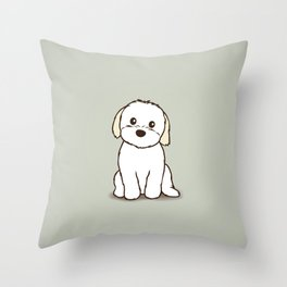 Shih Tzu and Maltese Mix Puppy Illustration Throw Pillow