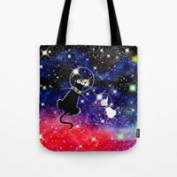 space cat Tote Bags featuring Space Cat by Andrew Hitchen