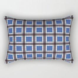 Sapphire Blue Plaid Pattern Rectangular Pillow