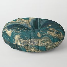 Abstract Pour Painting Liquid Marble Abstract Dark Green Painting Gold Accent Agate Stone Layers Floor Pillow