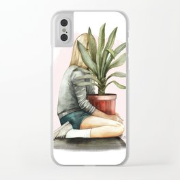 Tropical girl Clear iPhone Case