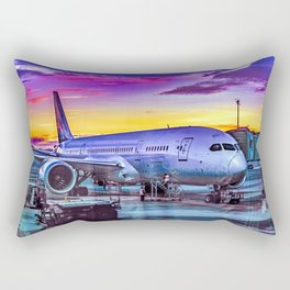 Plane Parked at Barajas Airport, Madrid, Spain Rectangular Pillow