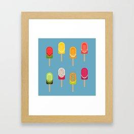 Fruit popsicles - blue version Framed Art Print