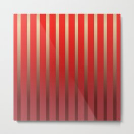 Geometric abstract gold red gradient stripes Metal Print