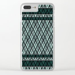 Green, white ,black , tartan Clear iPhone Case