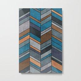 Abstract chevron pattern - blue, grey, brown Metal Print