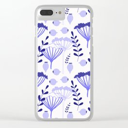 Blue floral pattern Clear iPhone Case