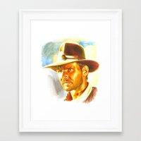 indiana jones Framed Art Prints featuring Indiana Jones by Illusoryart