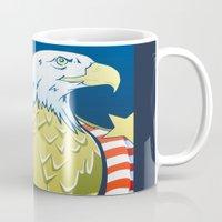 patriotic Mugs featuring Patriotic Eagle by whiterabbitart