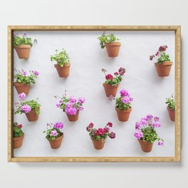 Colorful flower pots Serving Tray