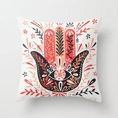 Hamsa Hand – Red & Black Palette Throw Pillow