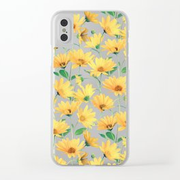 Painted Golden Yellow Daisies on soft sage green Clear iPhone Case