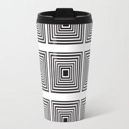 Illusion Squares Black and White Travel Mug