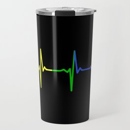 Rainbow Heartbeat Pulse LGBT Travel Mug