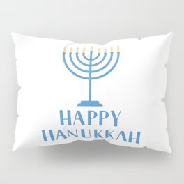 Happy Hanukkah  hand lettering with Menorah candle  Pillow Sham