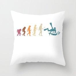 Evolution Of Spearfishing Throw Pillow