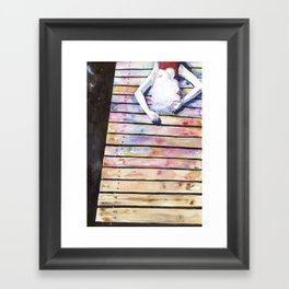 on the jetty, in the sun, her mind was elsewhere Framed Art Print