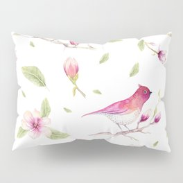 Birds and magnolia floral branches pattern Pillow Sham