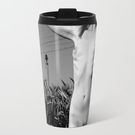 Skinny Beauty Posing Outdoors, Erotic photography, slim and fit nude body, hot Vintage style Travel Mug