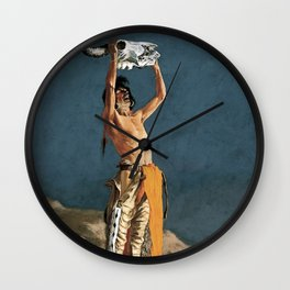 """Western Art """"Conjuring Back the Buffalo"""" by Frederic Remington Wall Clock"""