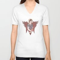 sam winchester V-neck T-shirts featuring Angel of Compassion (Sam Winchester) by KARADIN