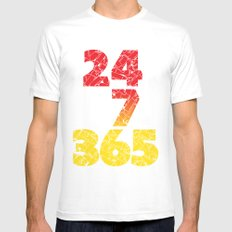 24-7/365 (Red hustle) Mens Fitted Tee White MEDIUM
