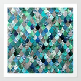 Mermaid Sea, Teal, Aqua, Silver, Grey Art Print