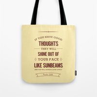 roald dahl Tote Bags featuring Roald Dahl quote - cream by Dickens ink.