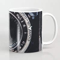 vintage camera Mugs featuring Camera by Katherine Ridgley