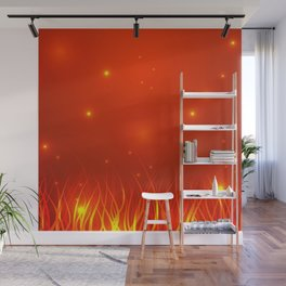 Flames from the fire and spark. Wall Mural