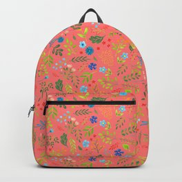 Wild flowers on coral Backpack