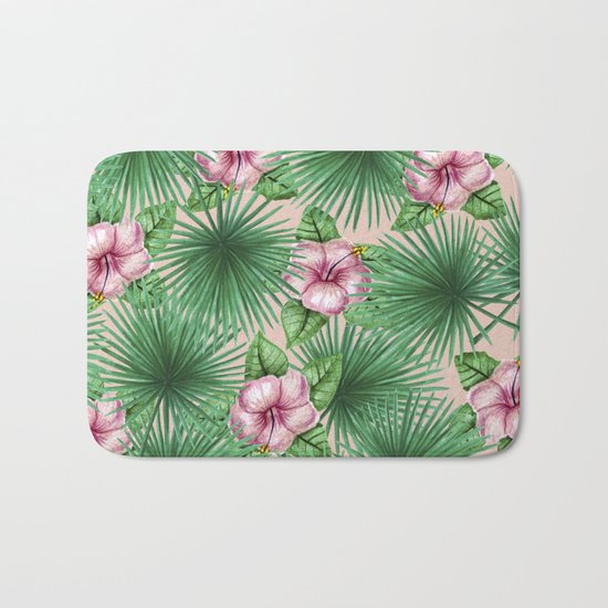 Jungle Love, Palm Leaves And Hibiscus Pink Bath Mat