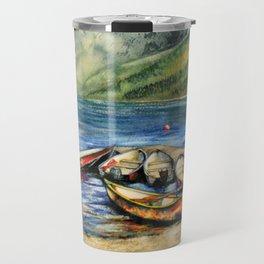 Boats On Lake McDonald Watercolor Travel Mug