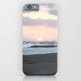 Beach Sunset Modern and Vintage Beach Aesthetic Photography of Newport Beach Colorful Pink Blue Sky iPhone Case