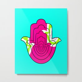 Blue Pop Art and Pink Hamsa Hand Metal Print