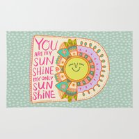 you are my sunshine Area & Throw Rugs featuring You Are My Sunshine by Gigglebox