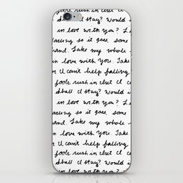 Can't Help Falling in Love Script iPhone Skin