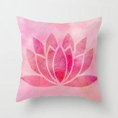 Watercolor Lotus Flower Yoga Zen Meditation Throw Pillow