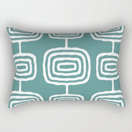 Mid Century Modern Atomic Rings Pattern 771 Teal Green Rectangular Pillow