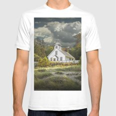 Old Mission Point Lighthouse in Early Autumn MEDIUM White Mens Fitted Tee