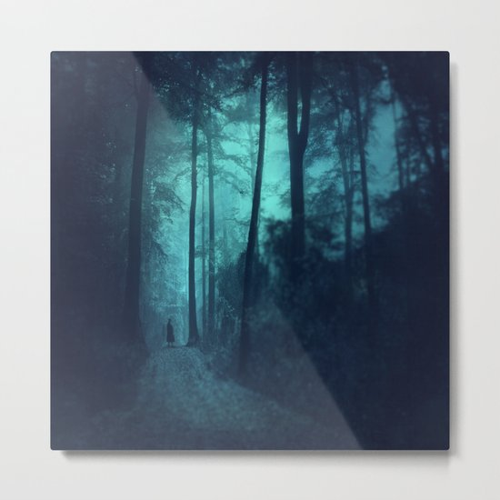 Light in a cyan forest Metal Print