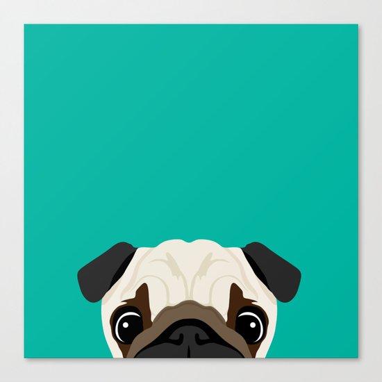 Peeking Pug Canvas Print