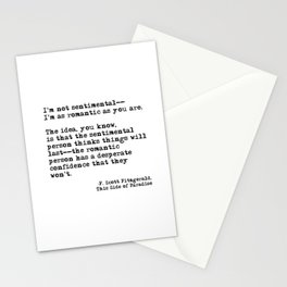 The romantic person - F Scott Fitzgerald Stationery Cards