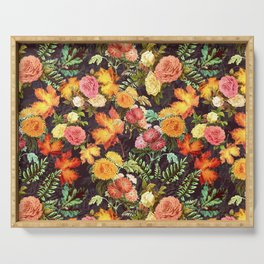 Autumn Flowers and Leaves Serving Tray