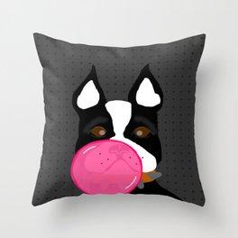 Bubblegum Terrier Throw Pillow