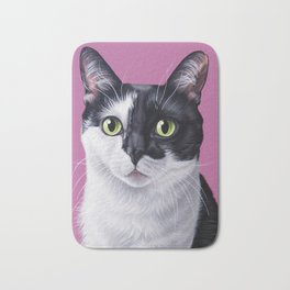 Regal Tuxedo Cat Portrait, Black and White Kitty Painting Bath Mat